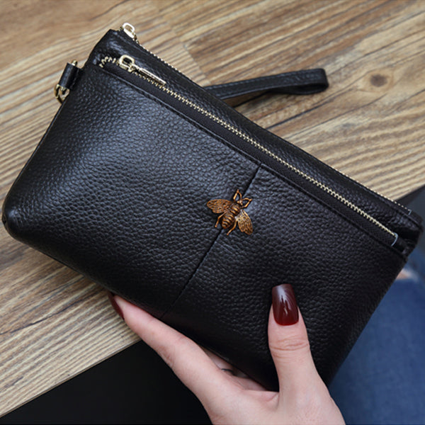 Genuine Leather Wristlet Purse for Women