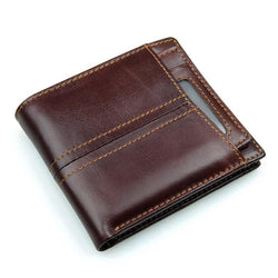 Men's Full Grain Leather Trifold Wallet RFID Blocking Leather wallets