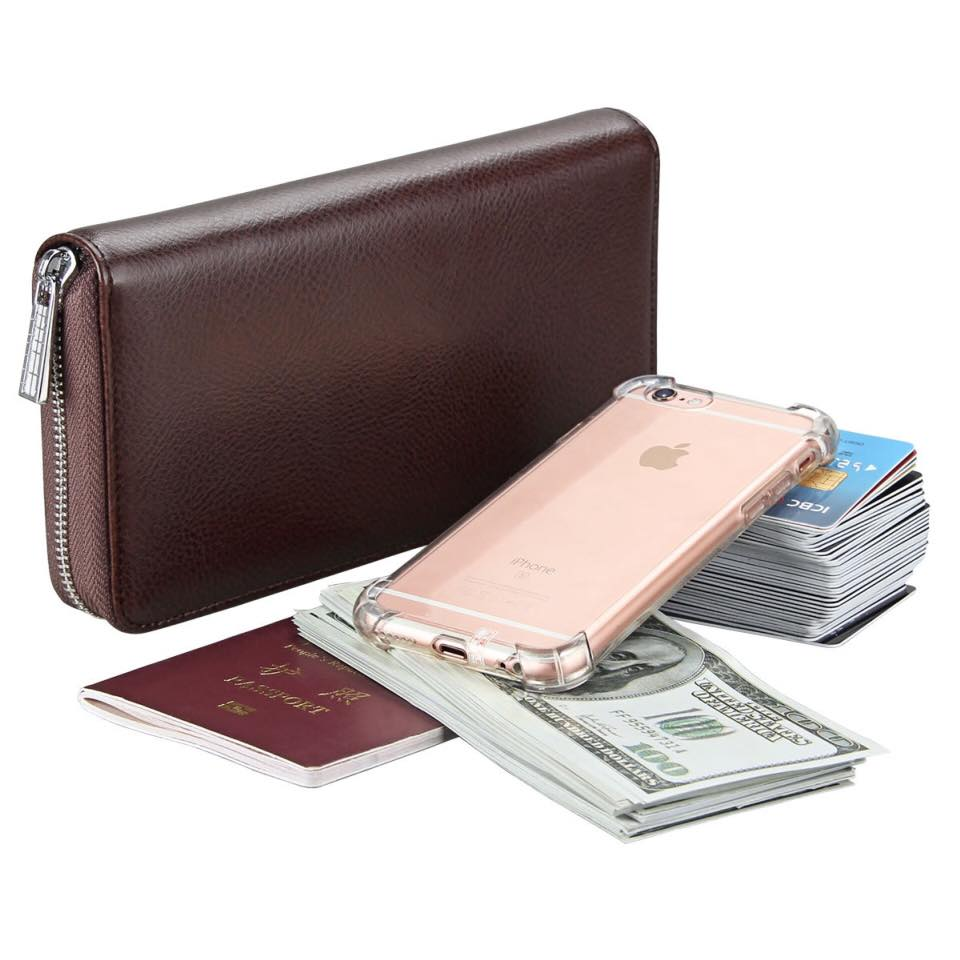 Unisex Clutch Bag Handbag Long Wallet Organizer Passport Genuine Leather Purse
