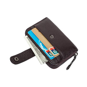 STYLIVVO Credit Card Wallet Genuine Leather RFID Secure Zipper Credit Card Holder