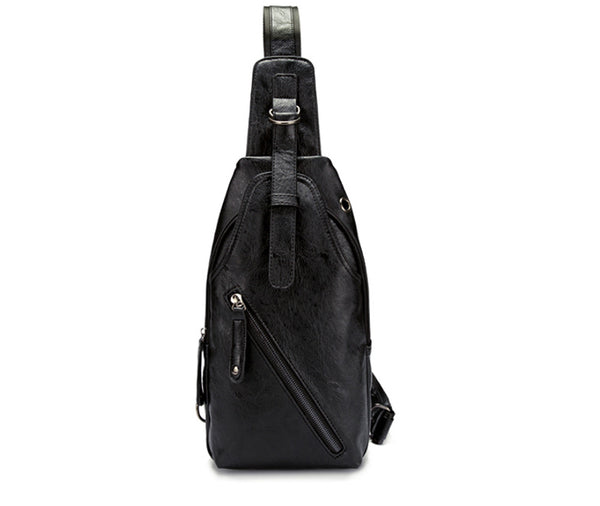 Men's Stylish Leather Shoulder Bag Crossbody Bag Chest Pack Backpack