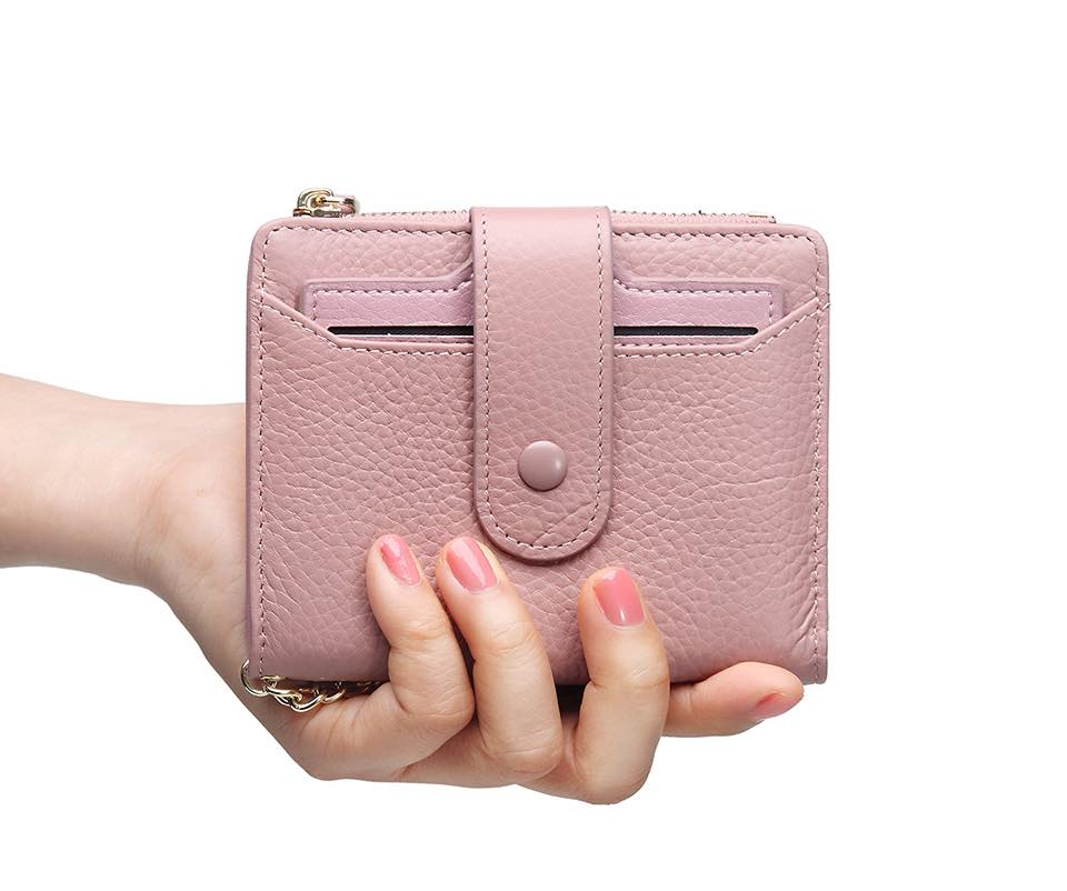 Women's Mini Soft Leather Bifold Wallet With ID Window Card Sleeve Coin Purse