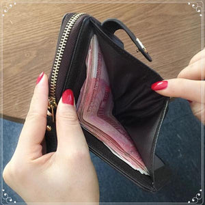 STYLIVVO Women's Leather Small Compact Bi-fold Zipper Pocket Wallet Card Case Purse with id Window