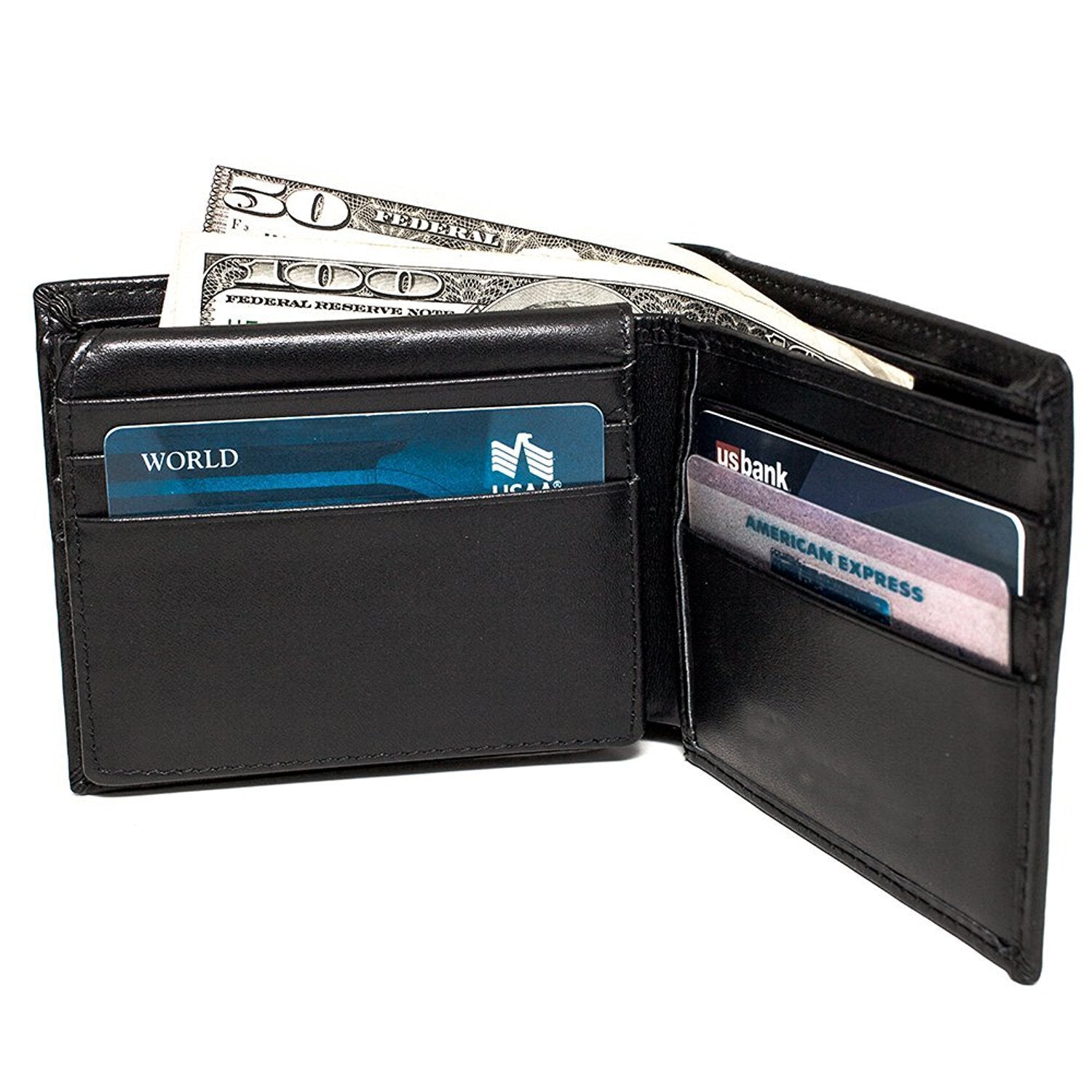 RFID Blocking Bifold Wallets for Men,Secure Genuine Leather Billfolds for Men with Credit Card Protectors(Black)
