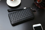 Large Capacity Cross Pattern Genuine Leather Clutch Wallet Card Holder Organizer