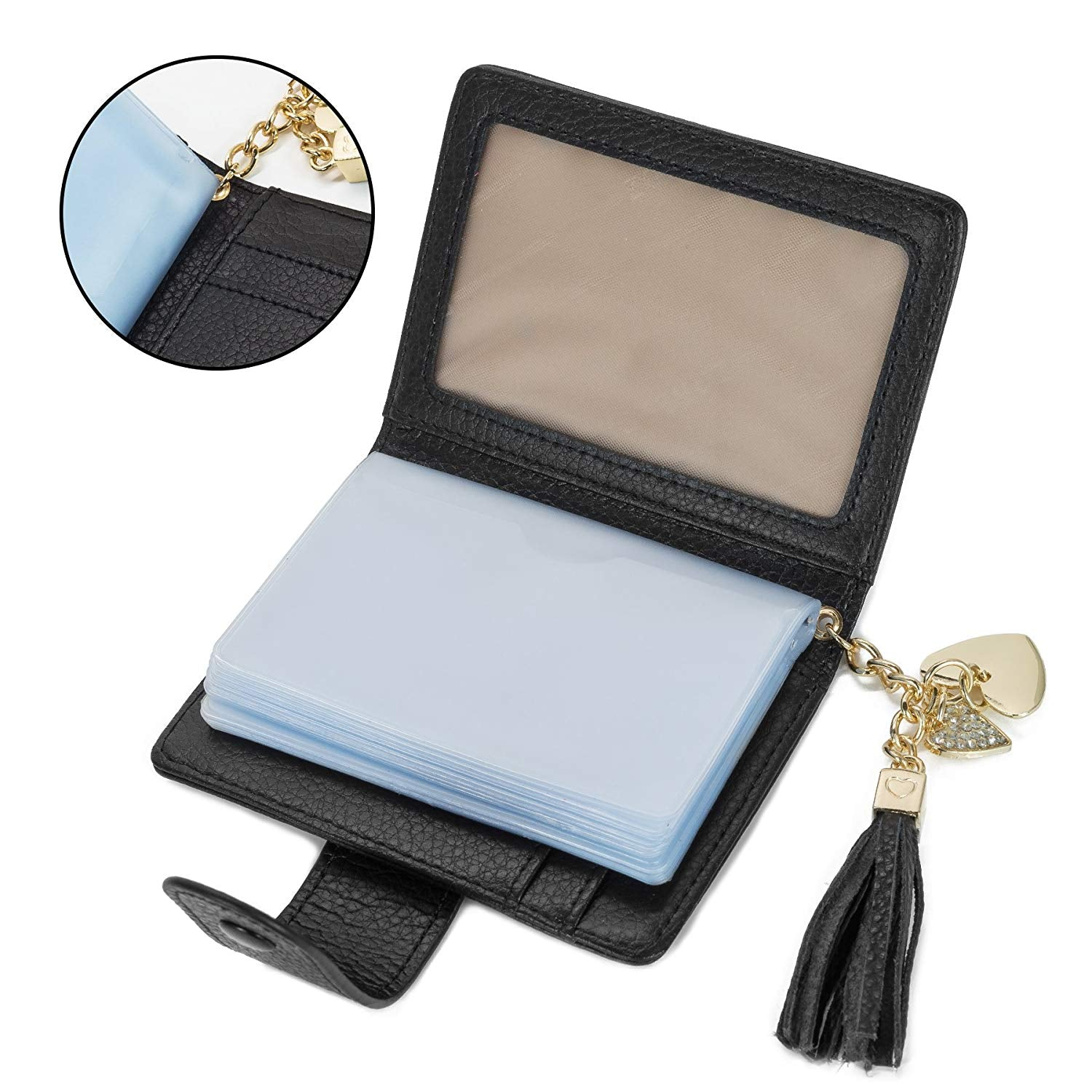 Women's Mini Credit Card Case Wallet with ID Window and Card Holder Purse