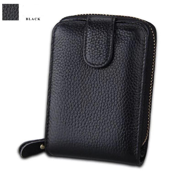 RFID Blocking Genuine Leather Credit Card Holder Case minimalist pocket wallet Organizer Compact Wallet