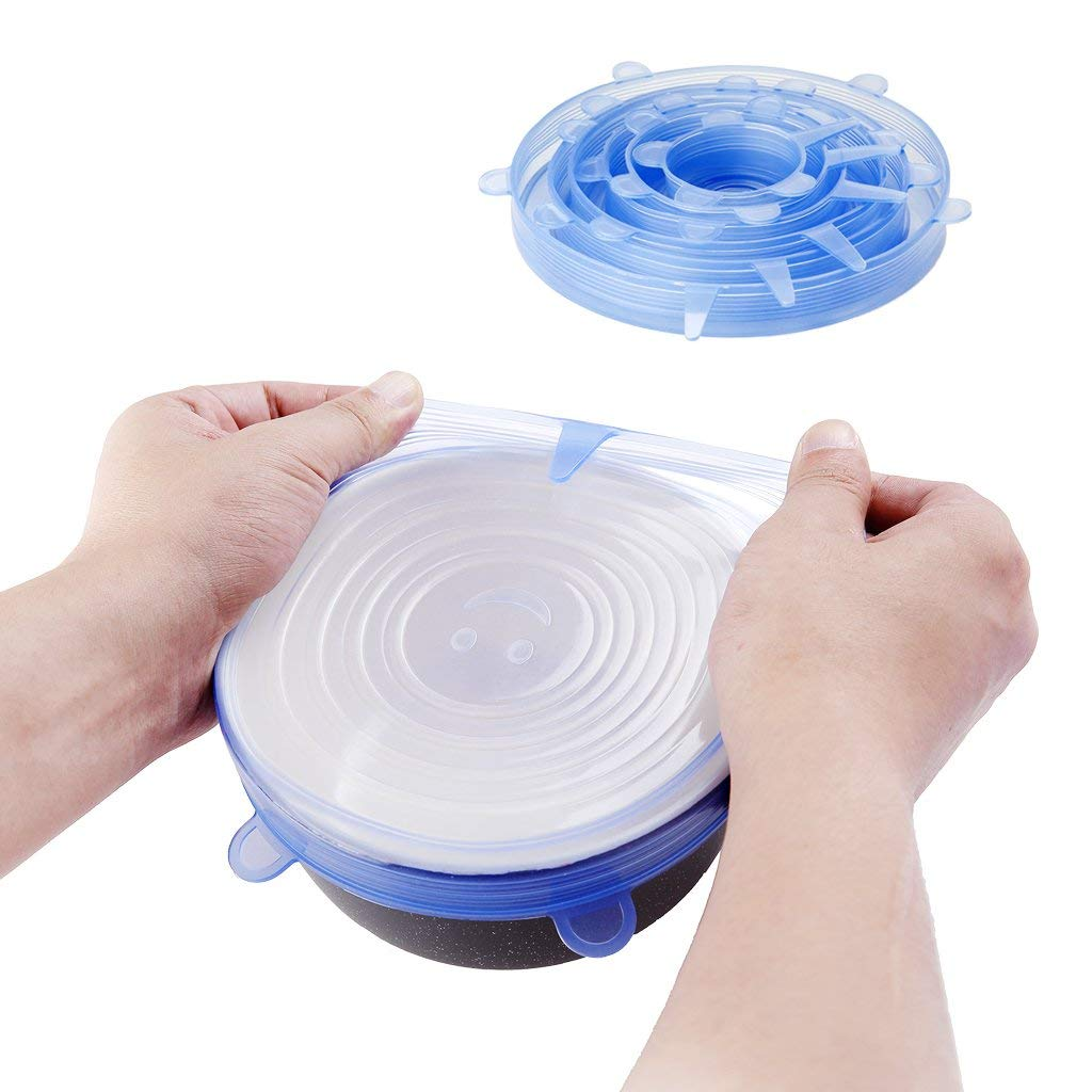 [TUPO] Silicone Stretch Lids, 6-Pack Various Sizes Cover for Bowl