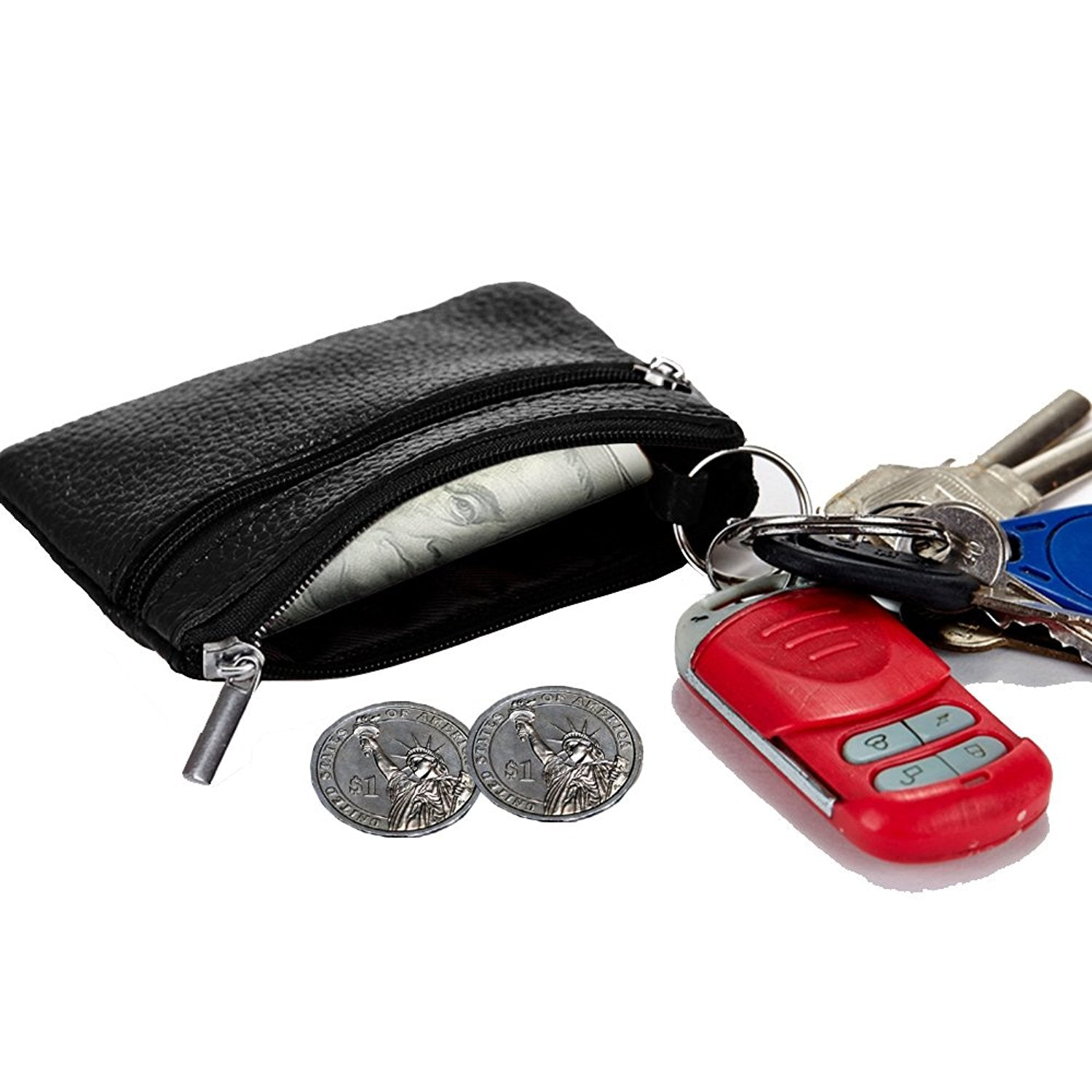 Genuine Leather Zipper Mini Coin Purse Key Ring Card Holder Wallet