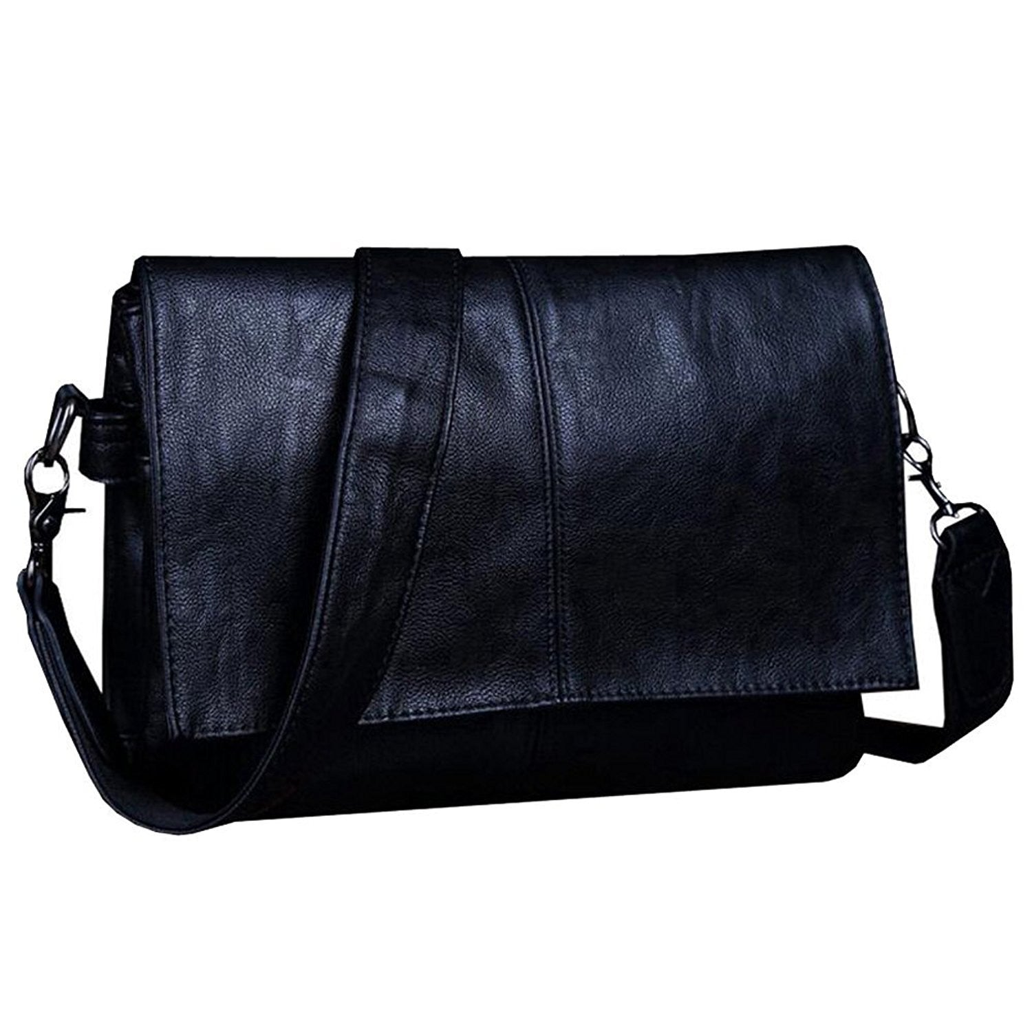 Men Casual Black Leather Luxury Messenger Crossbody Handbag Clutch Shoulder Bag