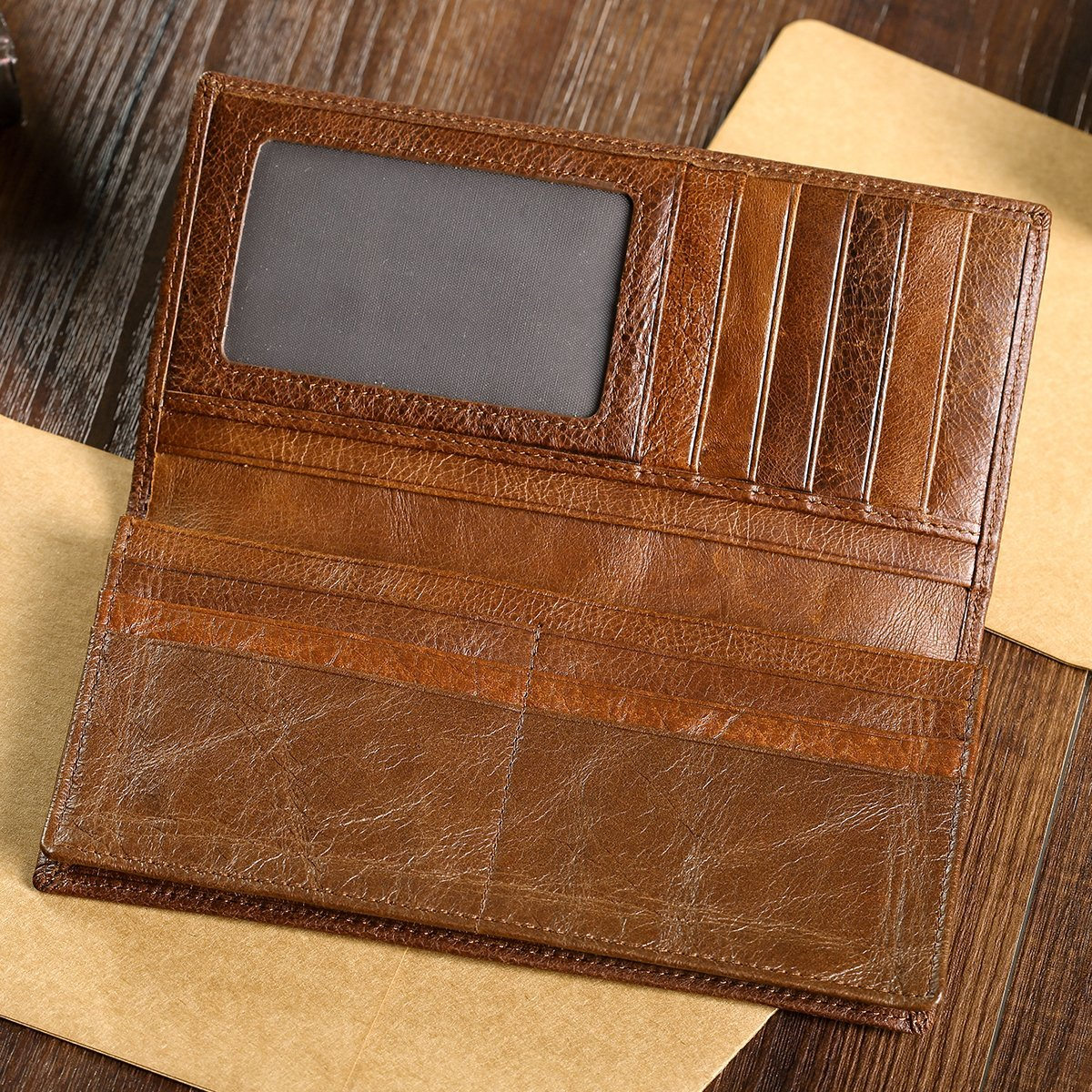 Men's Vintage Look Genuine Leather Long Bifold Wallet Rfid