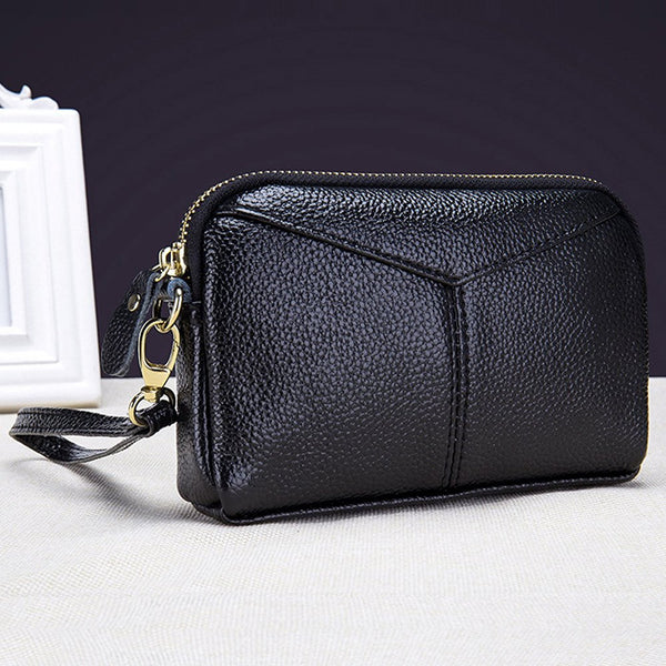 Women's Genuine Leather Wallet Clutch Bag Zipper Wristlet Purse Handbag