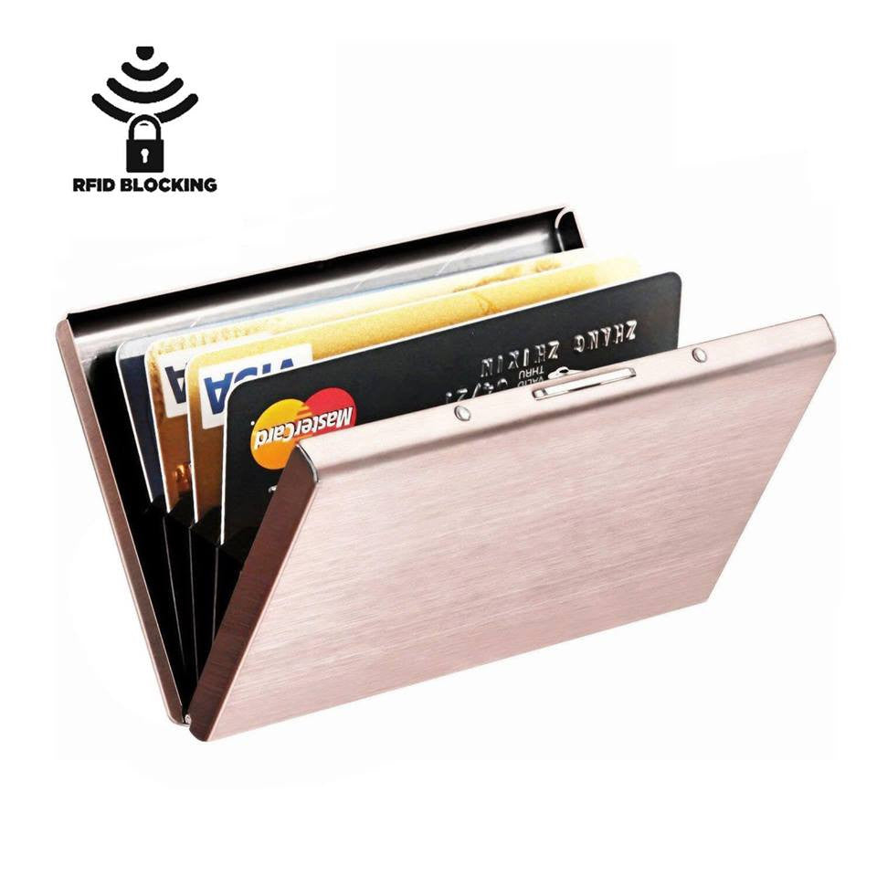 RFID Blocking Slim 6 PVC Slots Card Case Unisex Nano Plating Black