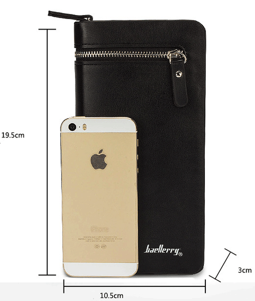 Leather Card Wallet with Smartphone Holder - Black