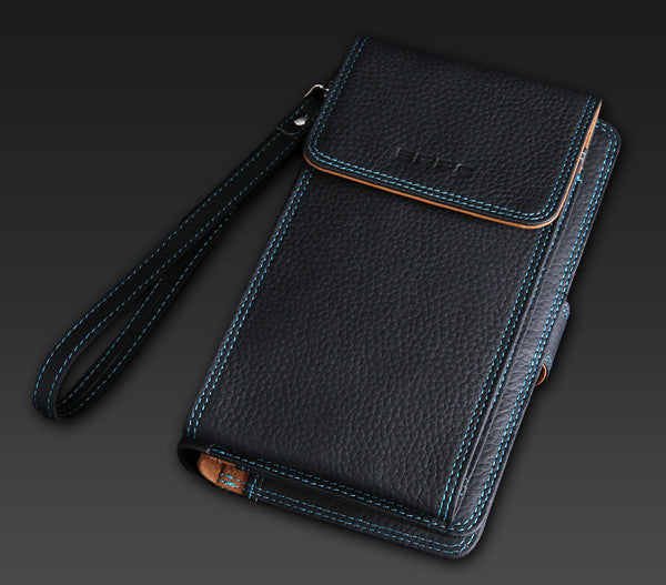 Plus Size Genuine Leather BiFold Wallet SmartPhone Wallet fit up to 5.7 inch