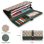 STYLIVVO Women Leather Flap Clutch Slim Long Bifold Vintage Travel Wallet