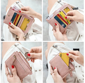 STYLIVVO Women's Small Bifold Leather Wallet Girl Ladies Mini Zipper Coin Purse Slim Compact Thin