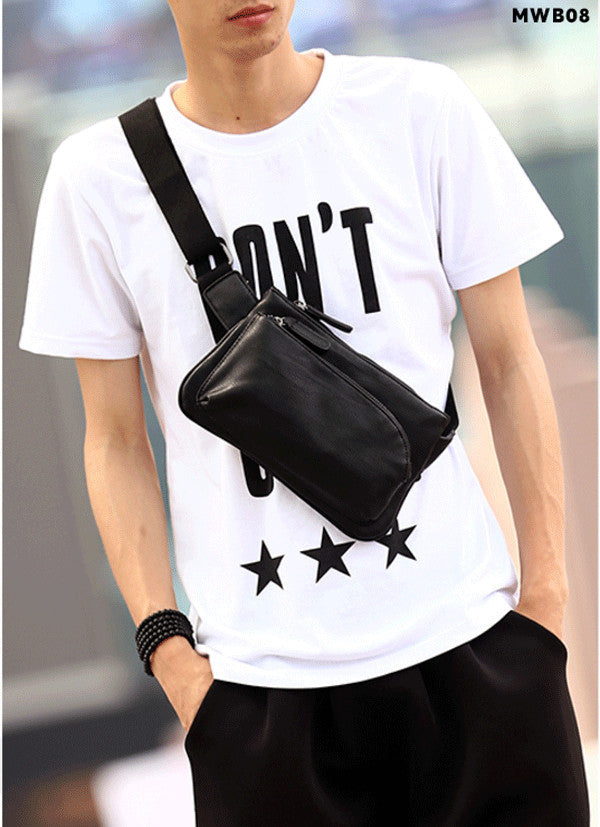 PU Leather Men Waist Small Chest Bag Black [MWB08]