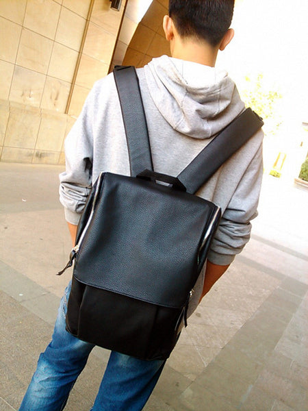 PU Leather Backpack Square Zipper Laptop Students Mens Bag-Black