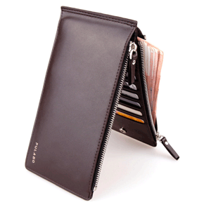 Double Zipper Credit Card Leather Wallet SmartPhone Holder
