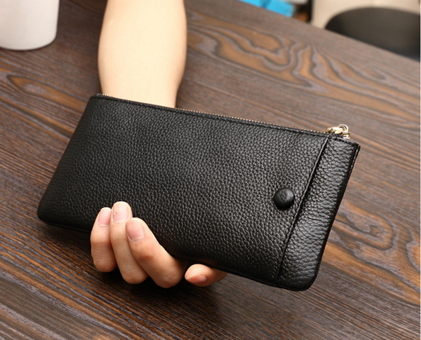 Genuine Leather Smartphone Wallet Unisex Clutch Cash Card Wallet