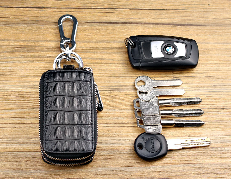 Genuine Leather Car key Chain Bag Wallet 2 Zipper Car key Chain Case Holder with Smart KeyChain Coin and Key Ring Black