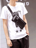 PU Leather Men Waist Small Chest Bag Black [WMB113]