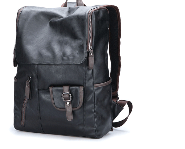 PU Leather Stylish Backpack Laptop Mens Bag-Black [PULBP02]