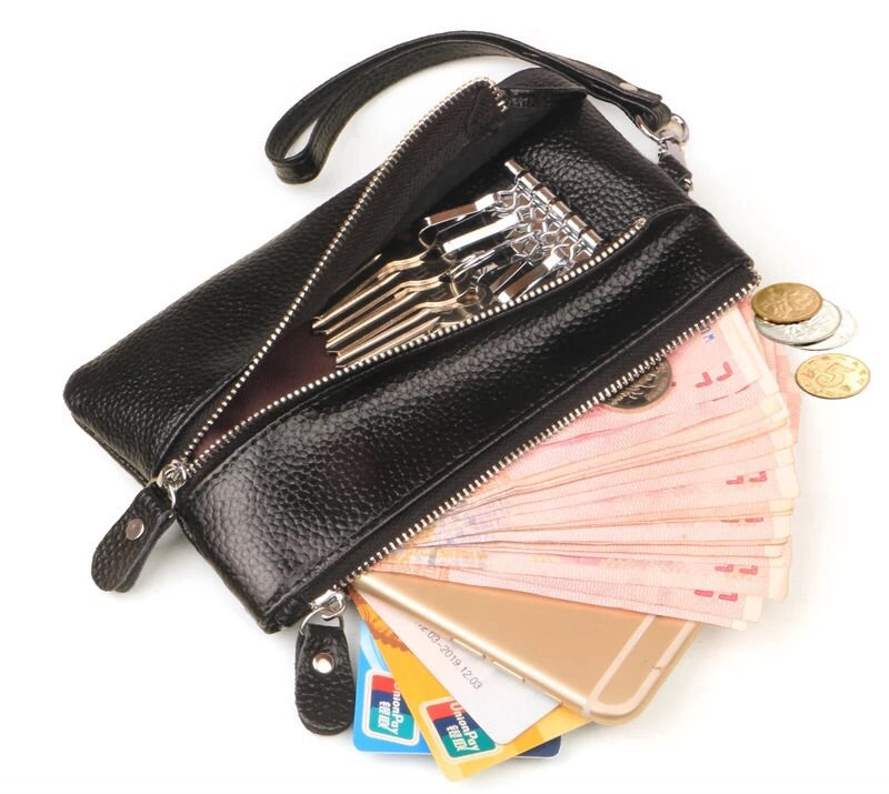 STYLIVVO Womens Leather Key Case/ Zipper Coin Purse/ Card Phone Wallet