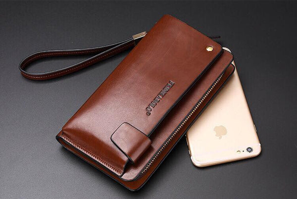 Genuine Leather Smart Phone Wallet with Card Holder