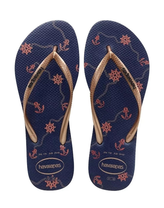 HAVAIANAS SLIM NAUTICAL in NAVY BLUE & ROSE GOLD-3