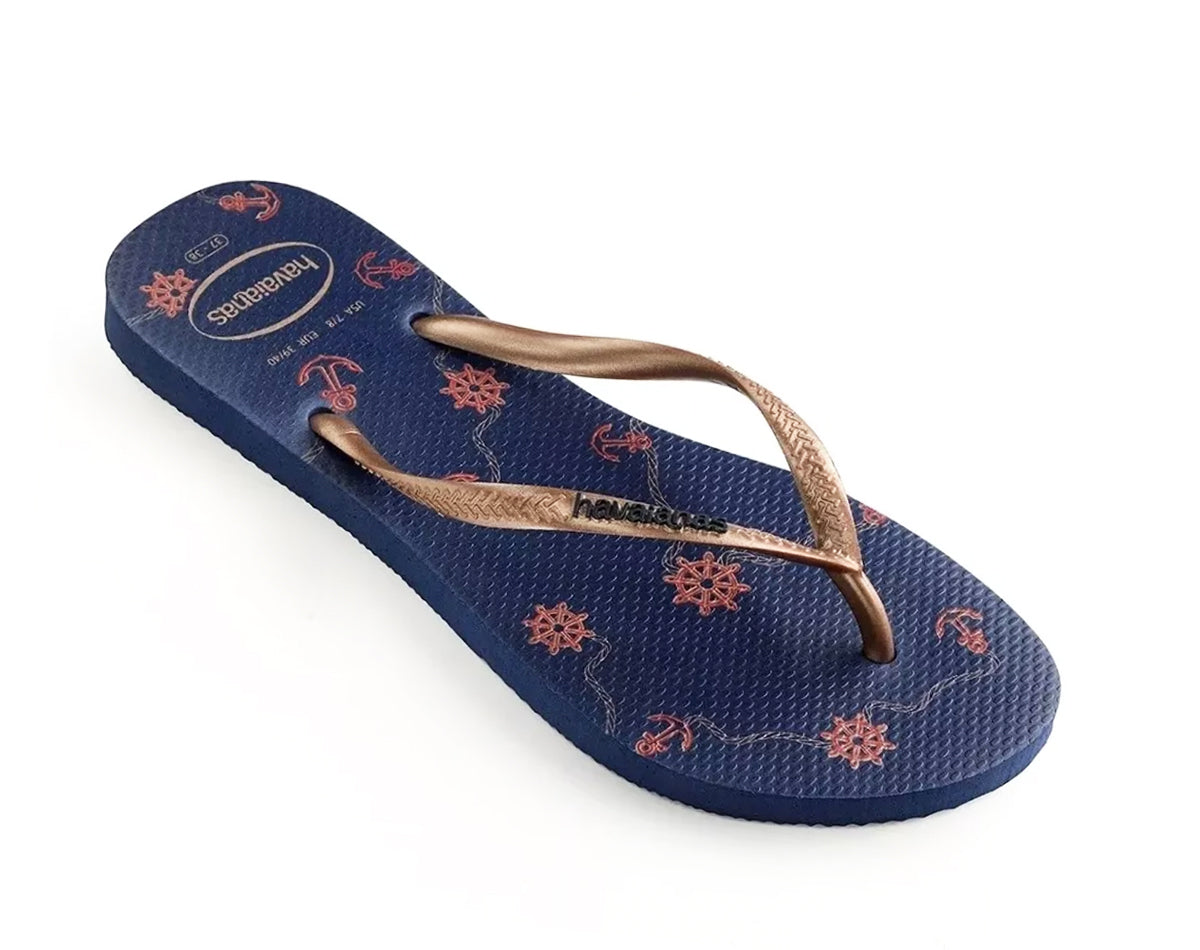 HAVAIANAS SLIM NAUTICAL in NAVY BLUE & ROSE GOLD-2