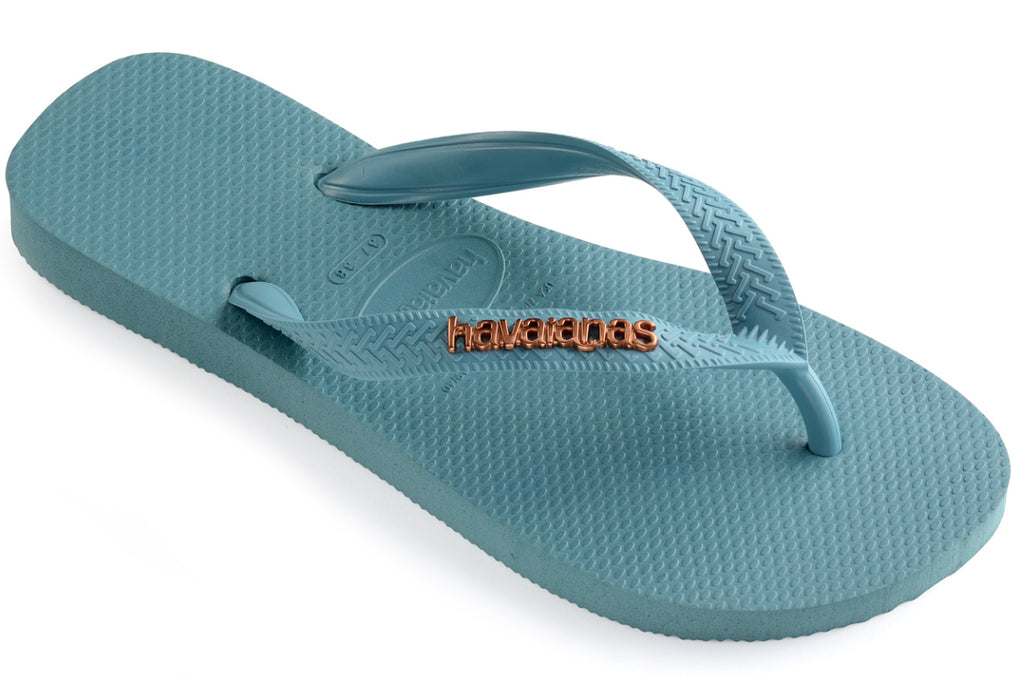 3bdf1cb89cd7 Havaianas with Metallic Logo for Women (Mineral Blue) — Schumart