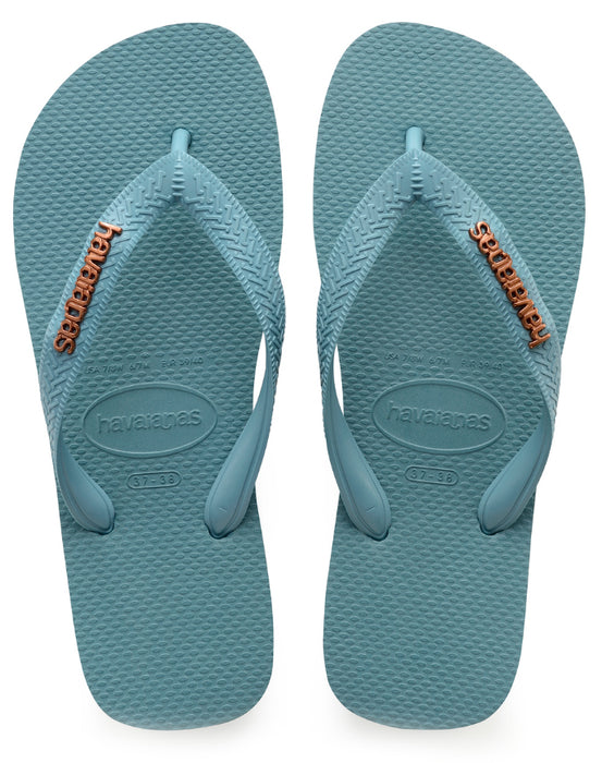 799ac412ac52 Havaianas with Metallic Logo for Women (Mineral Blue) — Schumart