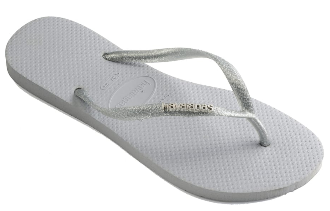 HAVAIANAS SLIM LOGO METALLIC in GREY-1