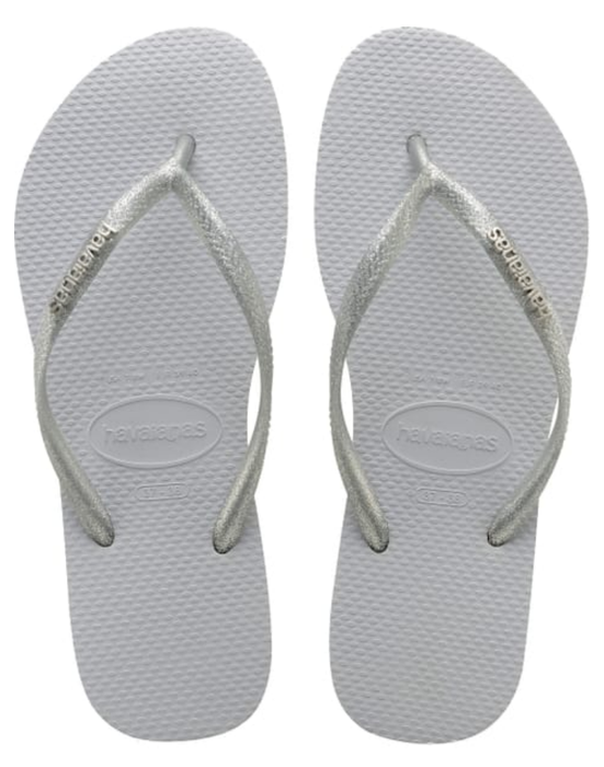 HAVAIANAS SLIM LOGO METALLIC in GREY-2