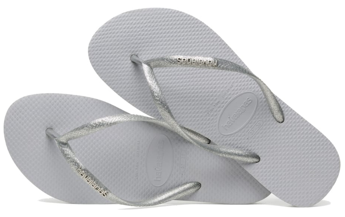 HAVAIANAS SLIM LOGO METALLIC in GREY-3
