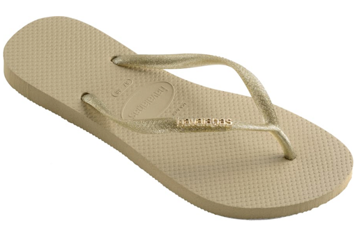 HAVAIANAS SLIM LOGO METALLIC in SAND GREY & LIGHT GOLD-1