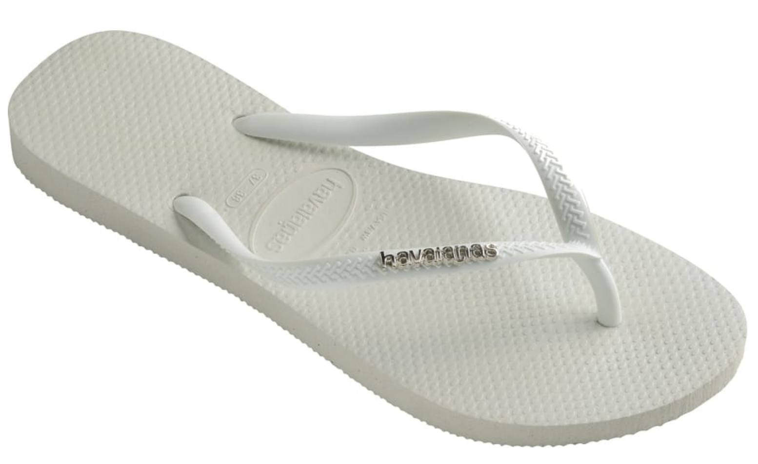 HAVAIANAS SLIM LOGO METALLIC in WHITE & SILVER-1