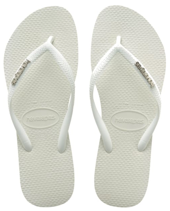 HAVAIANAS SLIM LOGO METALLIC in WHITE & SILVER-2