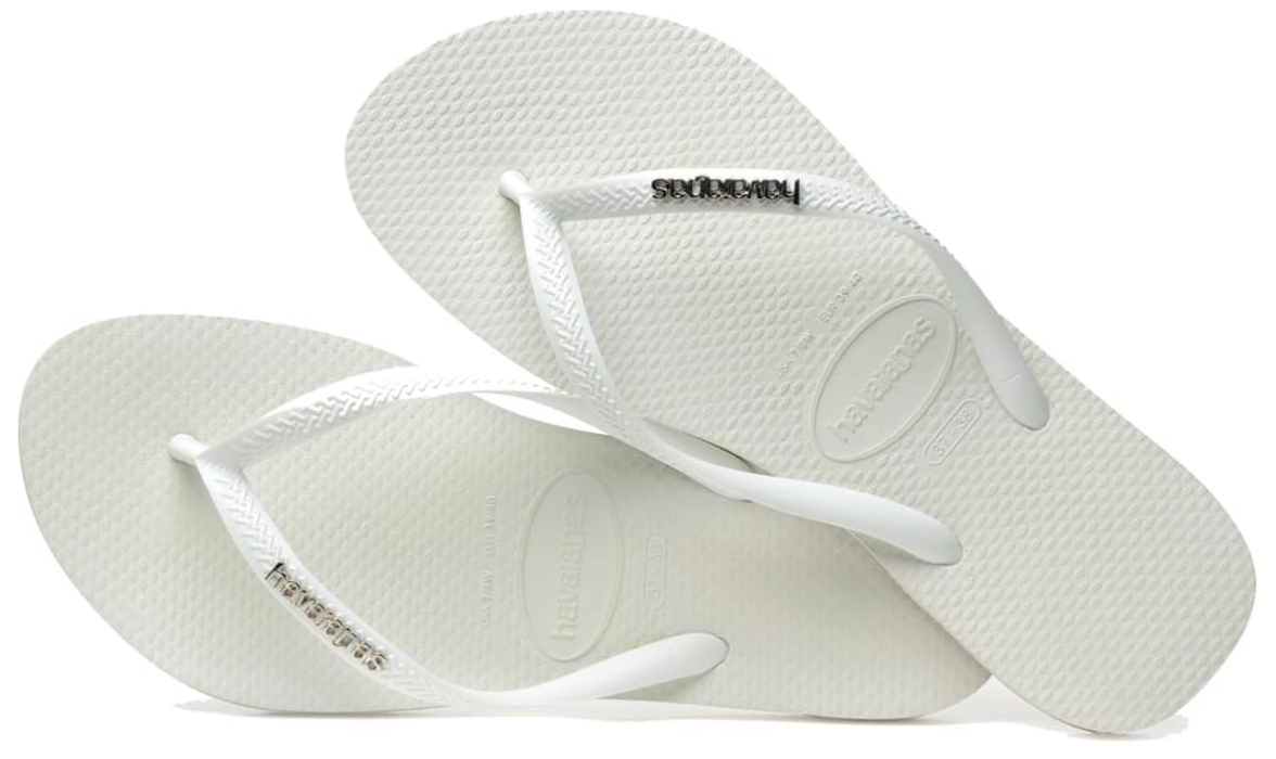 HAVAIANAS SLIM LOGO METALLIC in WHITE & SILVER-3