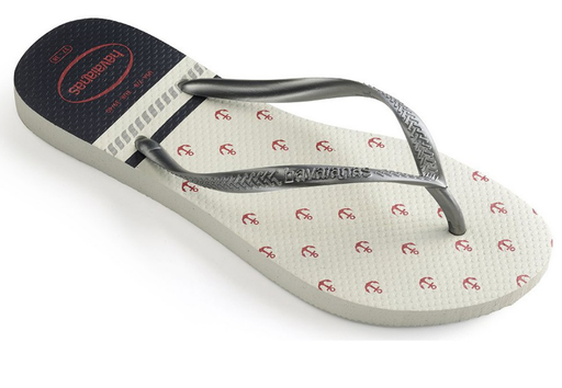 HAVAIANAS SLIM NAUTICAL in WHITE & GRAPHITE-1