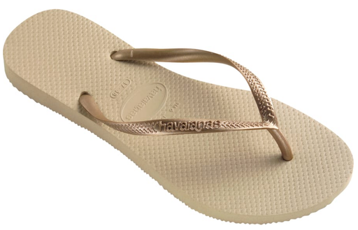 HAVAIANAS SLIM in SAND GREY & LIGHT GOLD-1