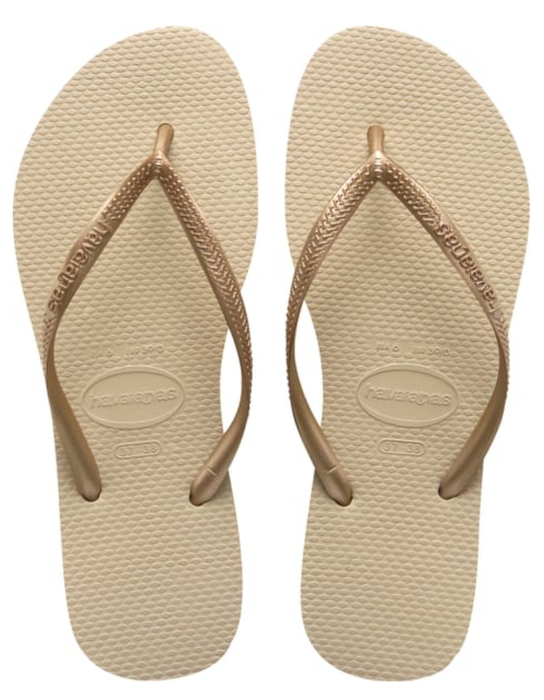 HAVAIANAS SLIM in SAND GREY & LIGHT GOLD-2
