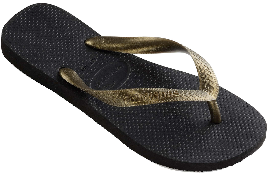 7ad2f4fa8216 Womens  Havaianas with Black   Gold Metallic Top — Schumart