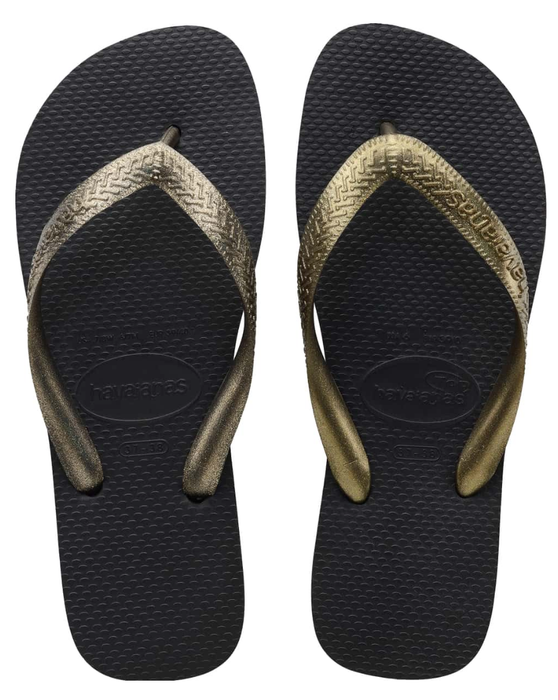 HAVAIANAS TOP TIRAS in BLACK & GOLD-2