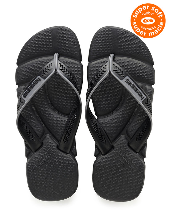 HAVAIANAS POWER in BLACK & STEEL GREY-2