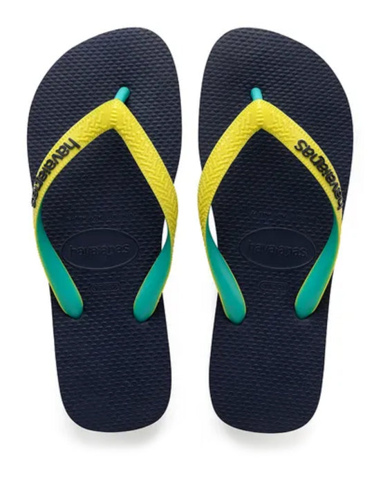 HAVAIANAS TOP MIX in NAVY & NEON YELLOW-2