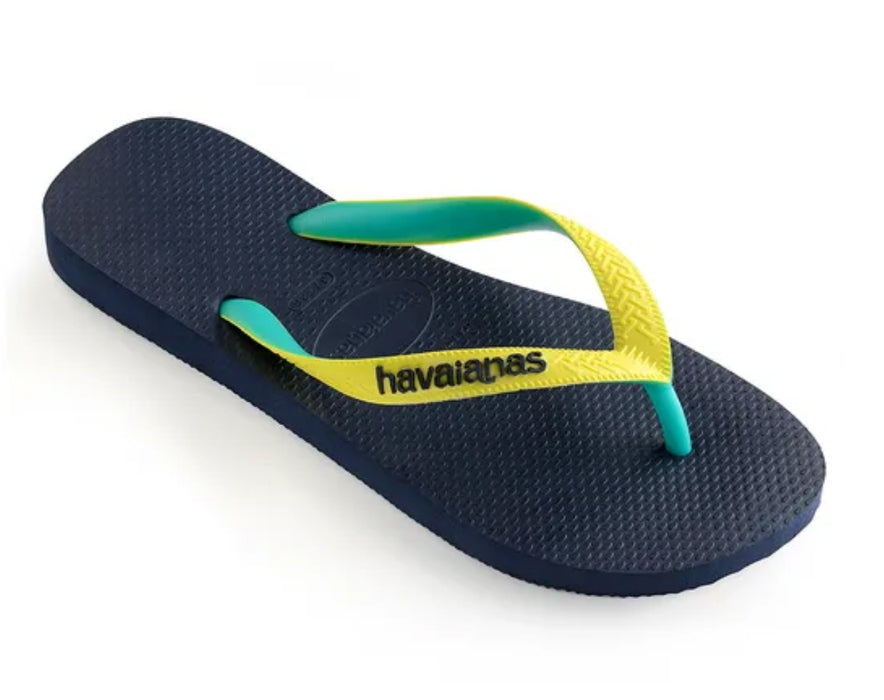 HAVAIANAS TOP MIX in NAVY & NEON YELLOW-1