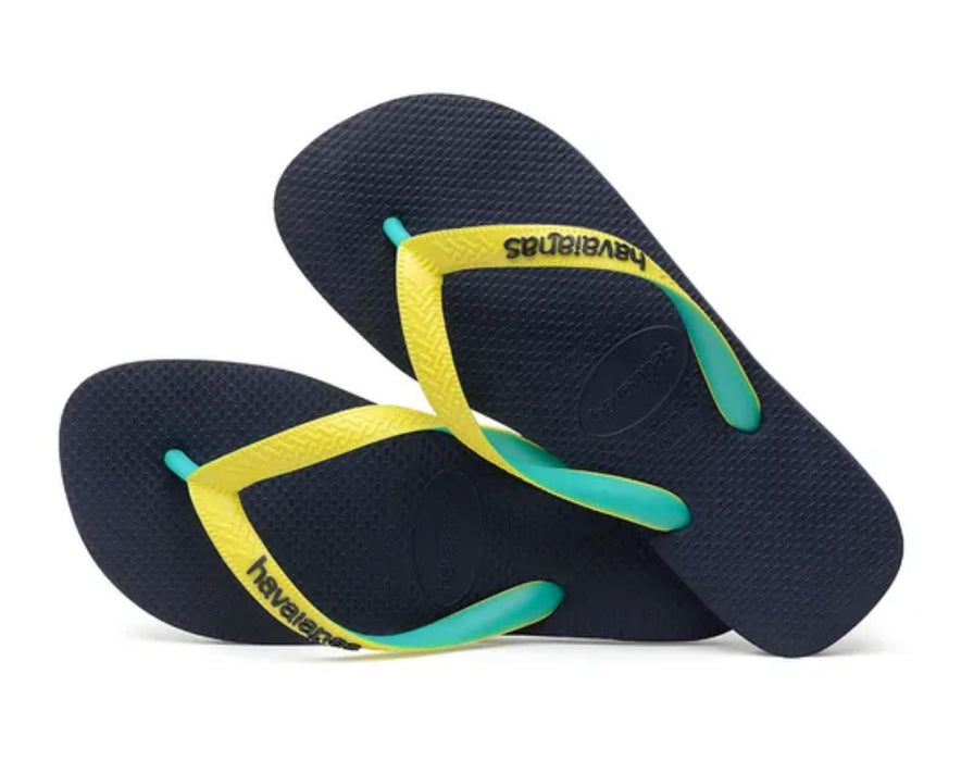HAVAIANAS TOP MIX in NAVY & NEON YELLOW-3